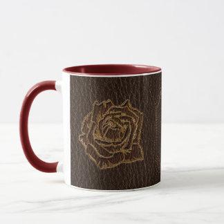 Leather-Look Rose Dark Mug