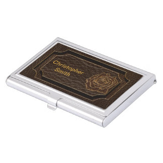 Leather-Look Rose Dark Business Card Case
