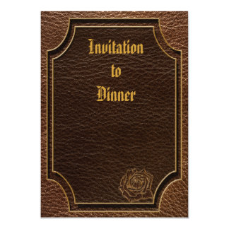 """Leather-Look Rose 5"""" X 7"""" Invitation Card"""