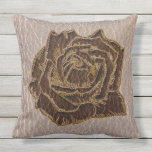 Leather-Look Rose Soft Outdoor Pillow