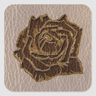 Leather-Look Rose Soft Square Sticker