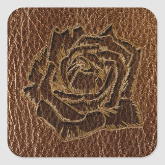 Leather-Look Rose Square Sticker