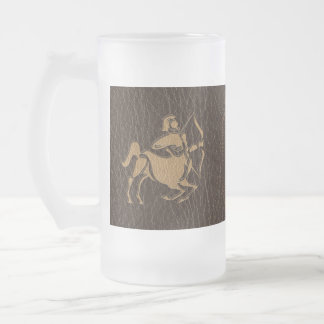 Leather-Look Sagittarius Frosted Glass Beer Mug