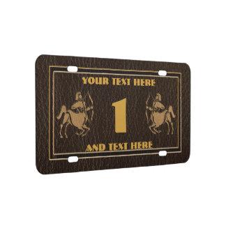 Leather-Look Sagittarius License Plate