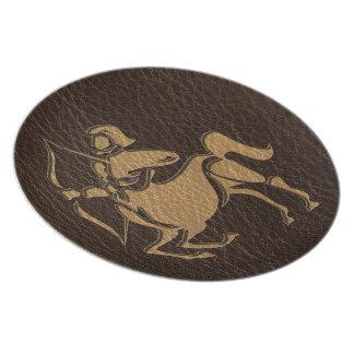 Leather-Look Sagittarius Melamine Plate