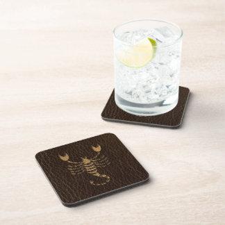 Leather-Look Scorpio Beverage Coaster