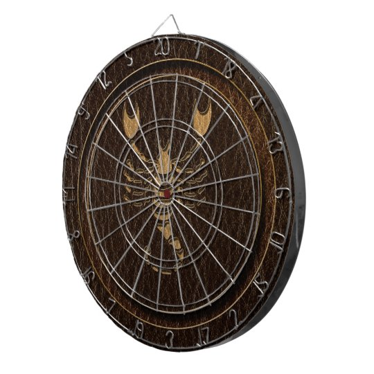 Leather-Look Scorpio Dartboard With Darts