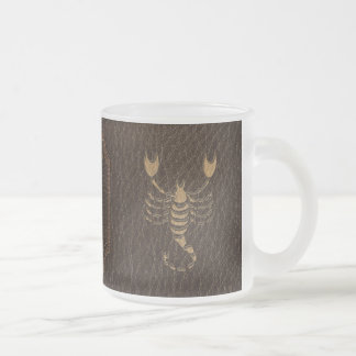 Leather-Look Scorpio Frosted Glass Coffee Mug