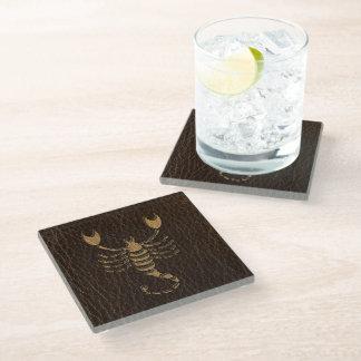 Leather-Look Scorpio Glass Coaster