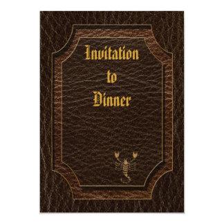 Leather-Look Scorpio 5x7 Paper Invitation Card