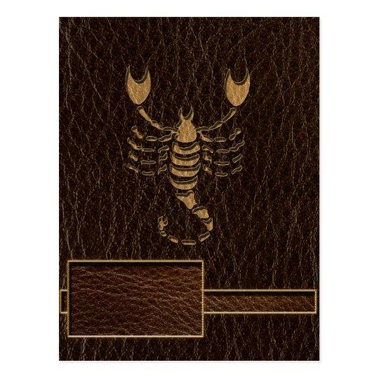 Leather-Look Scorpio Postcard