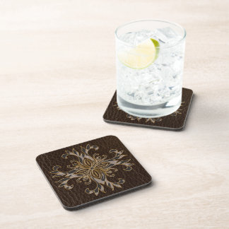 Leather-Look Star Dark Beverage Coaster