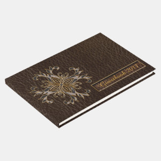 Leather-Look Star Dark Guest Book