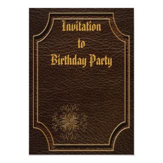 "Leather-Look Star Dark 5"" X 7"" Invitation Card"