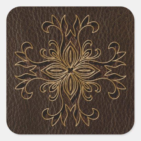 Leather-Look Star Dark Square Sticker