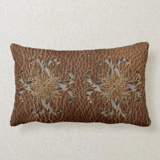 Leather-Look Star Lumbar Pillow