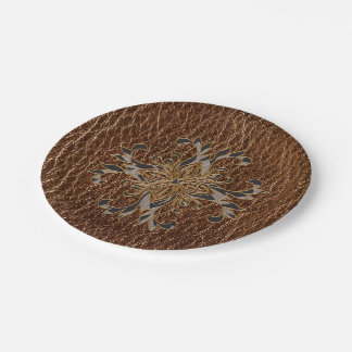 Leather-Look Star Paper Plate