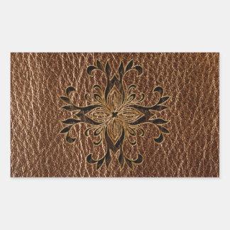 Leather-Look Star Rectangular Sticker