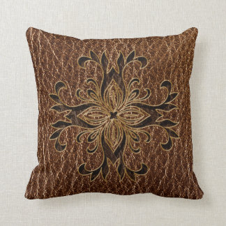 Leather-Look Star Throw Pillow
