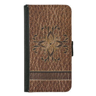 Leather-Look Star Wallet Phone Case For Samsung Galaxy S5
