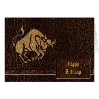Leather-Look Taurus Card