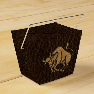 Leather-Look Taurus Favor Box
