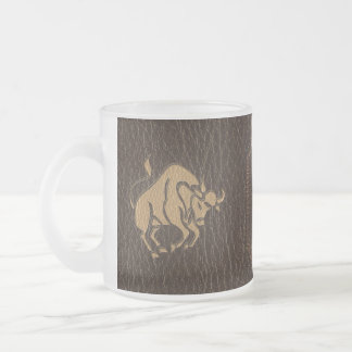 Leather-Look Taurus Frosted Glass Coffee Mug
