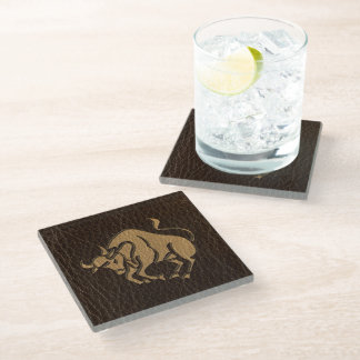 Leather-Look Taurus Glass Coaster