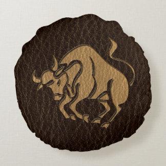 Leather-Look Taurus Round Pillow