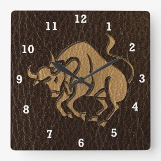 Leather-Look Taurus Square Wall Clock