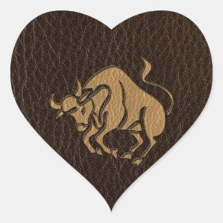Leather-Look Taurus Heart Sticker