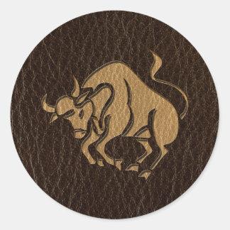 Leather-Look Taurus Classic Round Sticker