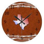 Leather Look Texas Clock