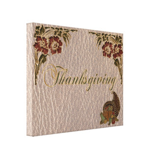 Leather-Look Thanksgiving 1 Canvas Print