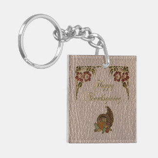 Leather-Look Thanksgiving 1 Keychain