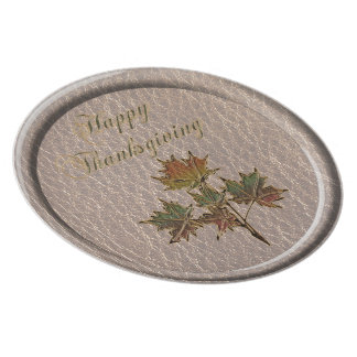 Leather-Look Thanksgiving 2 Dinner Plate