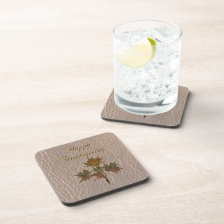 Leather-Look Thanksgiving 2 Drink Coaster