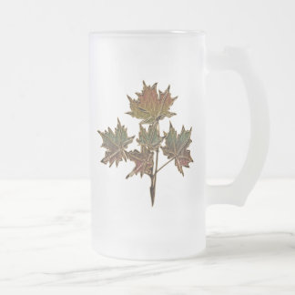 Leather-Look Thanksgiving 2 Frosted Glass Beer Mug