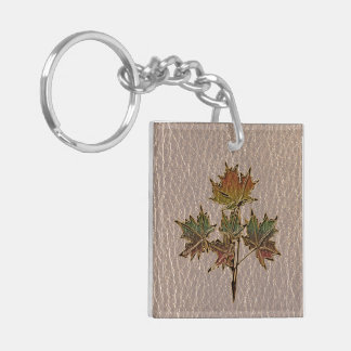 Leather-Look Thanksgiving 2 Keychain