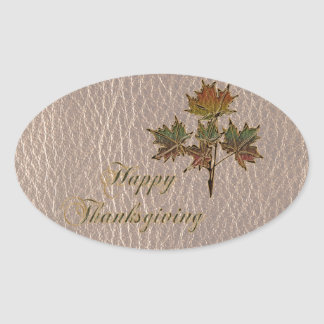 Leather-Look Thanksgiving 2 Oval Sticker