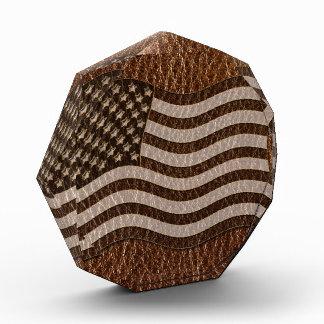 Leather-Look USA Flag Acrylic Award