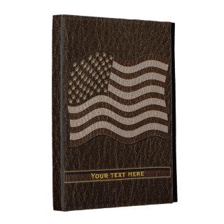 Leather-Look USA Flag Dark iPad Folio Cover