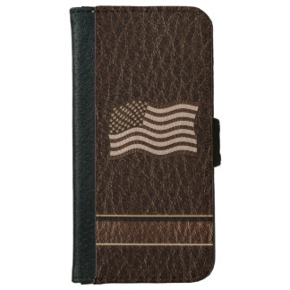 Leather-Look USA Flag Dark iPhone 6 Wallet Case