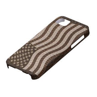 Leather-Look USA Flag Dark iPhone SE/5/5s Case