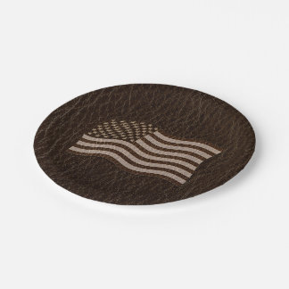 Leather-Look USA Flag Dark Paper Plate