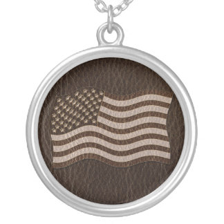 Leather-Look USA Flag Dark Silver Plated Necklace