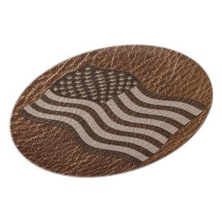 Leather-Look USA Flag Melamine Plate