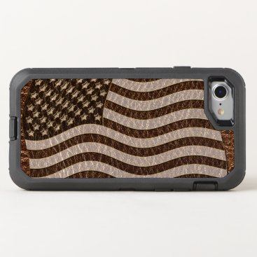 USA Themed Leather-Look USA Flag OtterBox Defender iPhone 7 Case