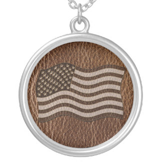 Leather-Look USA Flag Silver Plated Necklace