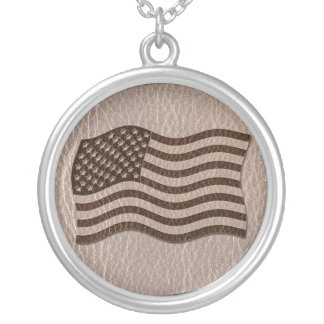 Leather-Look USA Flag Soft Silver Plated Necklace